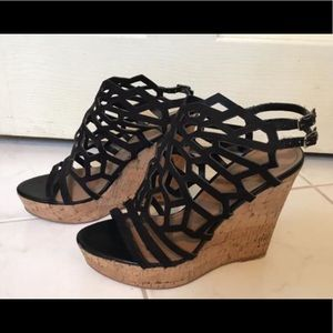 Black cutout cork wedge platform heel